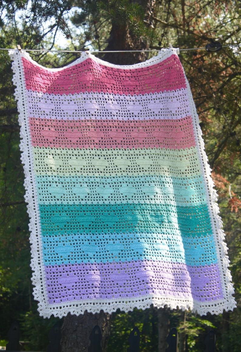 Sweet Hearts Rainbow Baby Blanket Crochet Pattern Etsy