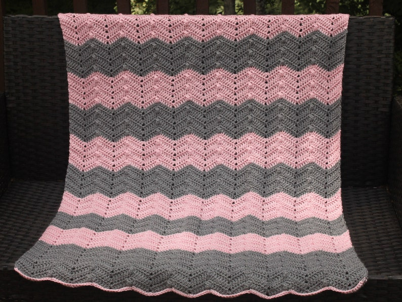 Ripple Waves Easy Baby Blanket Crochet Pattern Pink And Grey Etsy