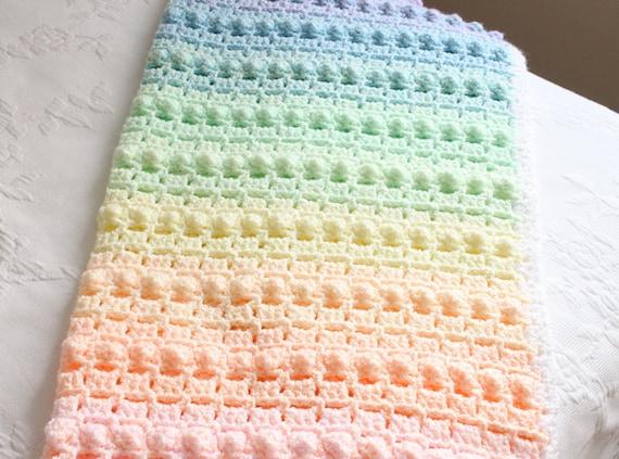 Crochet Pattern Rainbow Baby Blanket Pretty Popcorn Stitch Digital