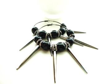 Black Wood Bead Spike Silver Hoop Earrings