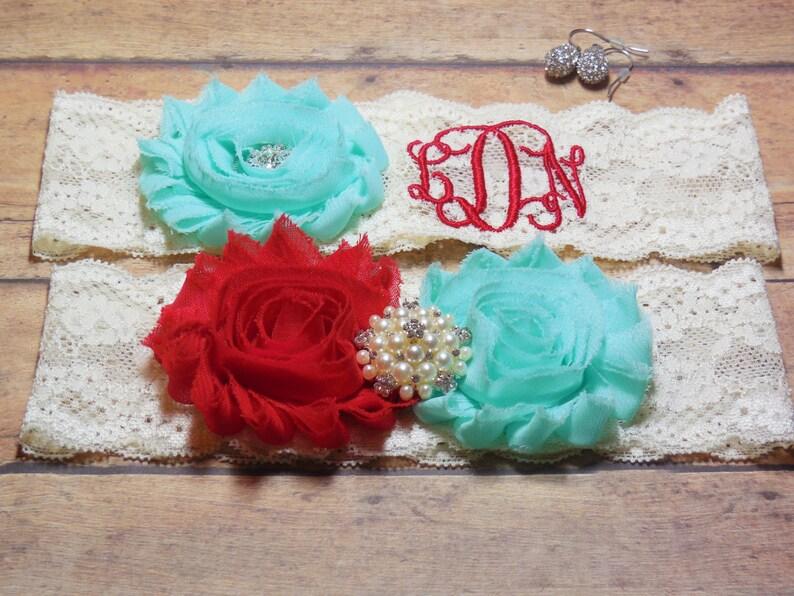 Custom Garter Mint and Red Garter Monogram Wedding Garter Personalized Garter Garter Monogrammed Garter Red Garter Mint Garter