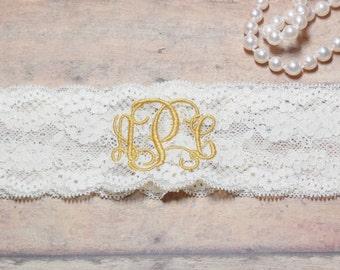 Monogrammed Garter, Monogram, Personalized Garter, Custom Garter, Gold Garter, Wedding, Gold Wedding, Garter, Wedding Garter, Brides Garter