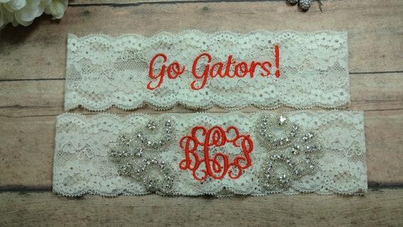 Monogrammed Garter, Garter, Florida Gators Garter, Orange Garter, Rhinestone Garter, Bling Garter, Shower Gift, Wedding Garter,Custom Garter