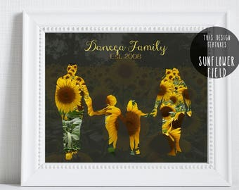 Silhouette, Family Silhouette, Sunflower, Children's Silhouette, Kids Silhouette, Gift for Mom, Family, Digital Download, Mother's Day Gift