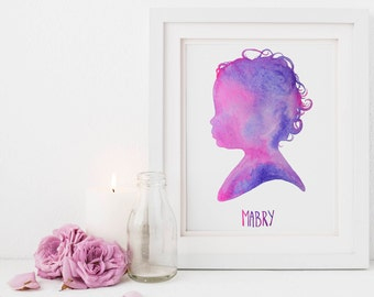 Kids Silhouette, 5 x 7,  Children's Silhouette, Child Silhouette Watercolor, Child Profile, Childhood, Memories, Personalized Gift for Dad