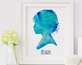 Kids Silhouette, 11 x 14,  Children's Silhouette, Hand Painted Watercolor, Child Profile, Childhood, Memories, Personalized Gift forDad