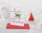 Printable Christmas Card: Have a Holly Jolly Christmas, Watercolor Card, Merry Christmas, Digital Download