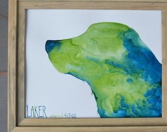 Pet Silhouette, 5 x 7,  Dog Silhouette, Cat Silhouette, Watercolor, New Puppy, Pet Adoption Gift, Memories, Pet Loss, Furbaby, Dog Mom