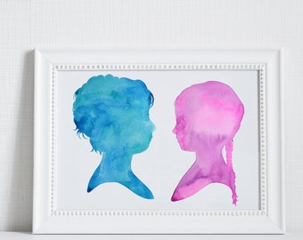 Kids Silhouette, 8 x 10,  Silblings, Father's Day Gift, Brother, Sister, Grandpa, Child Silhouette Watercolor, Personalized Gift for Dad