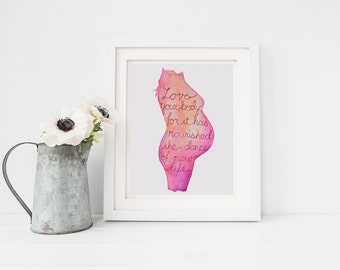 Baby Shower Print, Pregnancy Watercolor, Love Your Body, Watercolor Print, Digital Download. Pregnancy Love Your Body