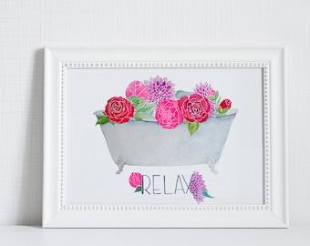 Digital Download: Relax, Clawfoot Tub, Watercolor