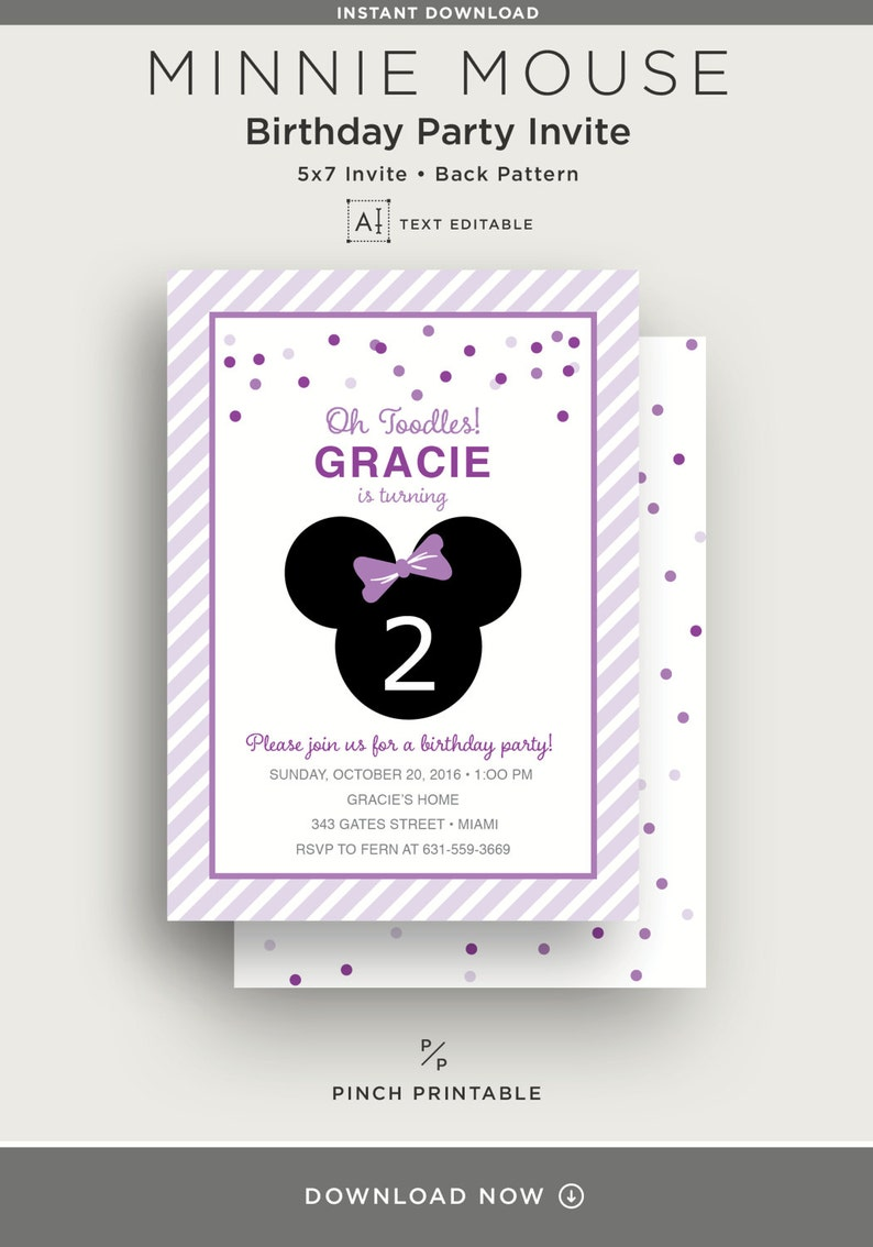 Pink 5x7 Invite Printable Instant Download Party Package Text Editable Minnie Mouse Kids Birthday Party Invitation Suite