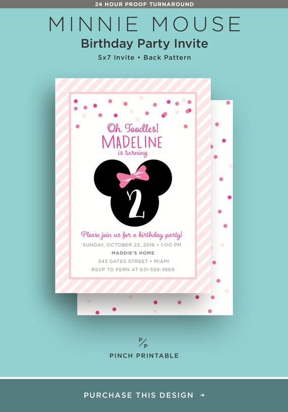 Minnie Mouse Zaproszenie Urodziny Dzieci Zaprosić Do Druku Etsy