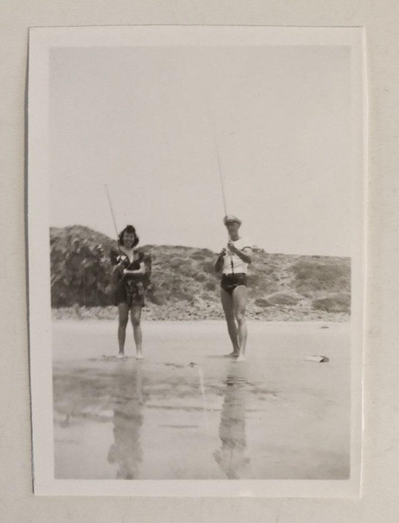 Original Vintage Photograph Beach Fishing