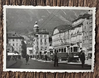 Original Vintage Photograph At the Base of the Mountain