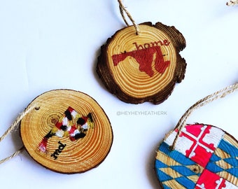 Maryland State Silhouette Watercolor Wood Christmas Ornaments