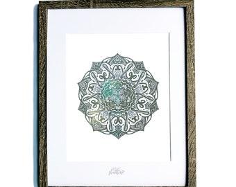 Letter N Hand Designed Mandala Nursery and Home Decor Foil Print