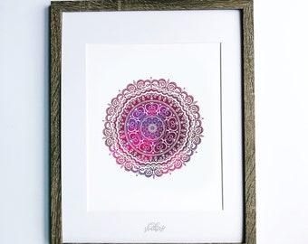 Letter E Hand Designed Mandala Nursery and Home Decor Foil Print