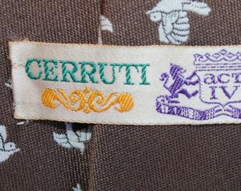 Vintage 1970s Men's Tie / Brown with birds /Cerruti