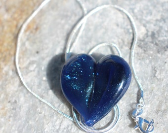 Sparkling Purple Glass Heart Necklace, Lampwork Handblown Jewelry,  Boro Pendant SRA Focal Bead, Gifts for Her