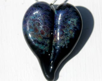 Blown Heart Necklace Glass Boro Pendant, Lampwork Focal Bead Speckled Black heart Heart