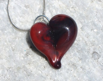 Glass Heart Necklace, Blown Boro Pendant, Lampwork Focal Bead Small swishes of Red