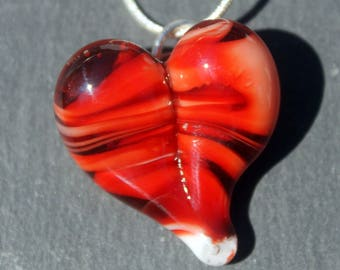 Red Heart Necklace Glass, Blown Boro Pendant, Lampwork Focal Bead Twists of Red Heart