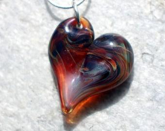 Heart Necklace Glass Jewelry, Pendant Lampwork Boro Heart  Amber Purple