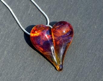 Glass Heart Jewelry, Lampwork Pendant, Hand Blown Necklace, Bright Yellow Orange Boro Heart