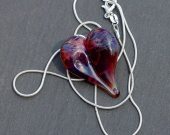 Heart Necklace Glass Pendant Silver Chain Handblown SRA  Amber Purple