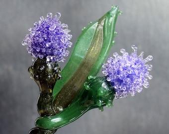 Glass Thistle Purple. Glass Long Stem Flowers, Outlander Scottish Irish Lampwork Flower Hand Blown Boro Thistles
