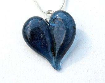 Sparkling Blue Glass Heart Necklace, Lampwork Handblown Jewelry,  Boro Pendant SRA Focal Bead, Gifts for Her
