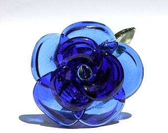 Blue Rose Glass Long Stemmed Rose, Borosilicate Lampwork Flower Hand blown, Handmade Gifts For Her, Large Rose Boro Sculpture Art