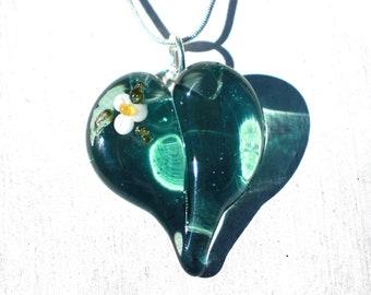 Glass Heart Necklace, Lampwork Boro Jewelry, Hand Blown Boro Pendant, Handmade Heart, Transparent Blue White Flower