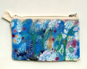 Handpainted embroidered small multipurpose clutch/purse/bag/pouch