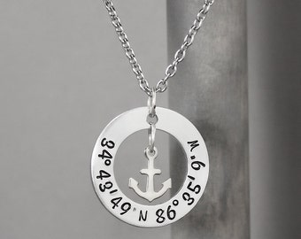 Coordinate Necklace, Hand Stamped Jewelry, Personalized Jewelry, Anchor Necklace, Latitude Longitude, Sentimental Jewelry, Long Distance