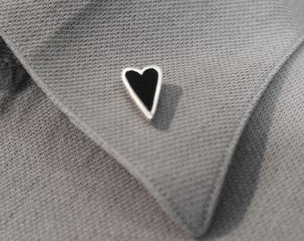 Heart Pin, Valentines Gift, Heart Brooch, Scarf Pin, Lapel Pin, Black Tourmaline Pin, Silver Pin, Silver Brooch, Valentines Pin, Vday Gift,