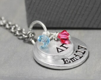 Delta Gamma Necklace, Big Sis Necklace, Sorority Jewelry, Lil Sis Necklace, Hand Stamped Jewelry, Sorority Jewelry, Delta Gamma Jewelry