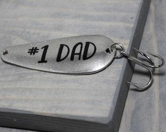 Fishing Lure, Custom Fishing Lure, Fathers Day Gift, Gift For Dad, #1 Dad, Dad Gift, Silver Fishing Lure, Fishing Gift, Fishing Accessories
