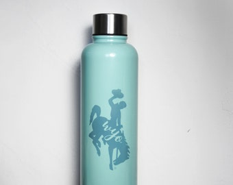 Wyoming Water Bottle, Wyoming Cowboy Water Bottle, Teal Cowboys Water Bottle, Wyoming Pokes, Inspirational Quote, Stainless Water Bottle,