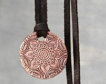 Mandala Necklace, Copper Necklace,