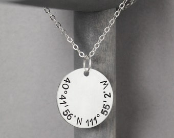 Silver Coordinate Necklace, Hand Stamped Jewelry, Personalized Necklace, Long Distance Relationship, Latitude Longitude, Long Distance Love