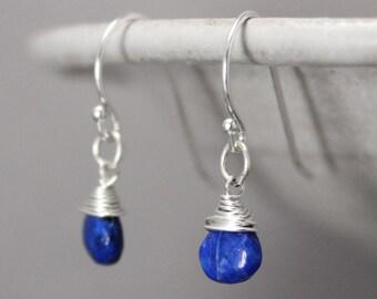 Lapis Earrings, Lapis Lazuli Earrings, Blue Earrings, Sterling Silver Earrings, Dangle Earrings, Gemstone Earrings, Healing Jewelry, Chakra