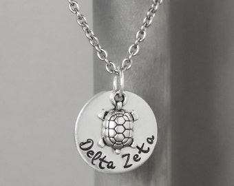 Delta Zeta Necklace, Big Sis Necklace, Sorority Jewelry, Lil Sis Necklace, Hand Stamped Jewelry, Sorority Jewelry, Delta Zeta Jewelry