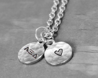 Alpha Xi Delta Necklace, Sorority Necklace, Sorority Jewelry, Alpha Xi Delta Jewelry, Hand Stamped Jewelry, Charm Necklace,  Big Sis Lil Sis