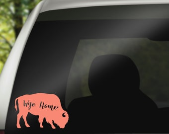 Bison Decal, Wyoming Decal, Wyoming Home Decal, Wyoming Car Decal, Car Accessory, Buffalo Decal, Wyoming Bison, Teal Heart Decal