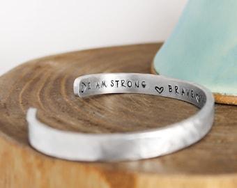 Inspiration Bracelet - Strength Bracelet - Inspiration Cuff Bracelet - Intention Bracelet