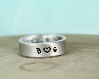 Custom Initial Ring - Initial Jewelry - Custom Thumb Ring - Handstamped Jewelry