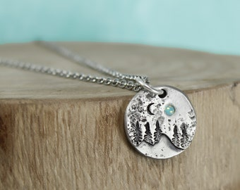 Moonlight  lamp work pendant necklace with chain FREE shipping USA