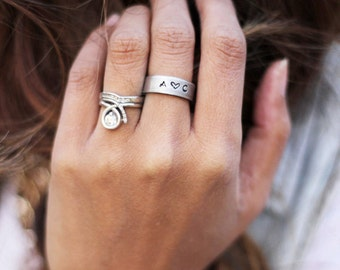 Custom Initial Ring - Initial Jewelry - Custom Thumb Ring - Handstamped Jewelry